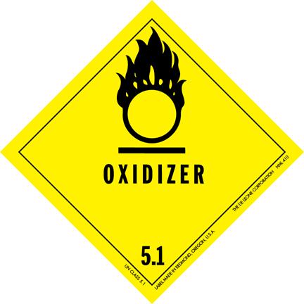 Etiqueta genérica de mercancías peligrosas para agentes oxidantes.